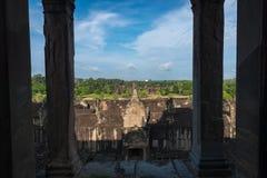 View from inside an Angkor Wat in Siem Reap, Cambodia. Beautiful view from inside an Angkor Wat in Siem Reap, Cambodia Royalty Free Stock Photography
