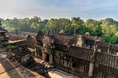 View from inside an Angkor Wat in Siem Reap, Cambodia. Beautiful view from inside an Angkor Wat in Siem Reap, Cambodia stock photo