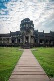 View from inside an Angkor Wat in Siem Reap, Cambodia. View from inside an Angkor Wat in cloudy day in Siem Reap, Cambodia Royalty Free Stock Image