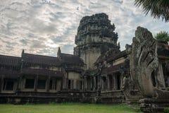 View from inside an Angkor Wat in Siem Reap, Cambodia. View from inside an Angkor Wat in cloudy day in Siem Reap, Cambodia stock images