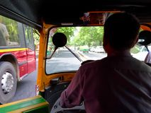 View from inside a Auto rickshaw in New Delhi India Stock Image