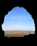 View from inside Beaufort Crusader Castle, South Lebanon stock photos