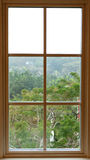 View from inside from a beautiful traditional window. The nature behind a window Royalty Free Stock Photography