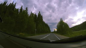 View from inside car on road stock footage