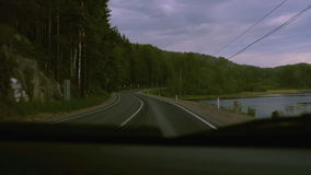 View from inside car on road stock video footage
