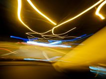 View from inside the car at the tunnel interior royalty free stock image
