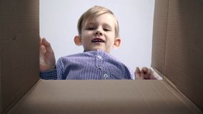 View from inside of the cardboard box little blonde boy cardboard box being opened.  stock footage