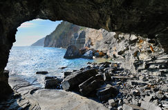 View from inside the cave in Porto Venere Royalty Free Stock Photography