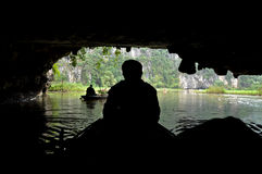 View from inside of a cave. Tam Coc, Vietnam Stock Images