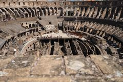 View inside the Coliseum, Rome, Italy royalty free stock photo