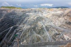 View of the inside of a deep magnesite quarry. View of the inside of a deep quarry stock image