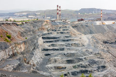 View of the inside of a deep magnesite quarry. View of the inside of a deep quarry stock images