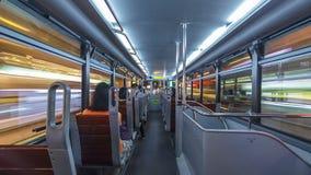View inside double-decker tram on street of HK timelapse hyperlapse. View inside interior of double-decker tram on street of HK timelapse hyperlapse drivelapse stock video