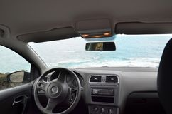 The view inside the empty car, the interior of the automobile. The interior of the automobile, view inside the empty car. rent car travel Royalty Free Stock Photography
