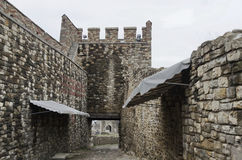 View an inside of fence and entrance in the Tsarevets Fortress Royalty Free Stock Photo