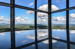 View from the inside of a fire tower on the top of a mountain in NY state Royalty Free Stock Image