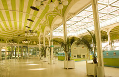 View inside the fontains area in the spa city of Vichy, France. View inside the building where are the original fontains of the main brands of Vichy mineral Royalty Free Stock Images