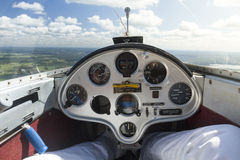 The view from inside a glider as it is being towed by another plane Royalty Free Stock Photos
