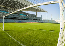 View from inside the goal. In a football stadium Royalty Free Stock Image