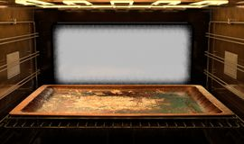 Inside The oven. A view from inside a hot operational household oven towards a closed door with an empty tanished baking tray inside - 3D render Stock Photography