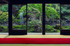 View from inside on a japanese garden in Kyoto Royalty Free Stock Photography