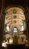 View inside Lisbon Cathedral: the chancel and three organ pipes Royalty Free Stock Image