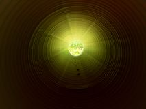 View inside of long plastic tube under ground. Colorful ribbed wall of plastic pipe, green light Stock Photography