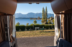 View from inside for a motorhome. View of Lake Tekapo from the back of a motorhome Royalty Free Stock Photography