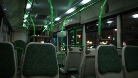 View inside the night bus. stock footage