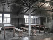 View of the inside of one of the barracks where prisoners lived stock photo