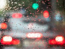 View from the inside onto rain drops on windscreen royalty free stock image