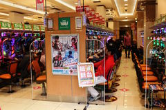 View inside a Pachinko Parlor in Tokyo. Stock Photography