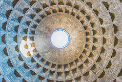 View inside the Pantheon's dome in Rome, Italy Stock Photography