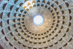 View inside the Pantheon's dome in Rome, Italy Stock Image