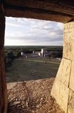 View from inside a pyramid. View from an inside chamber at top of El Castillo pyramid at Chichen-Itza, Mexico Royalty Free Stock Image