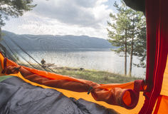View from inside the tent. Royalty Free Stock Photo