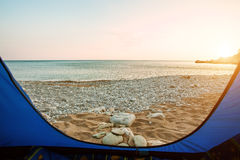 View from inside a tent Royalty Free Stock Image