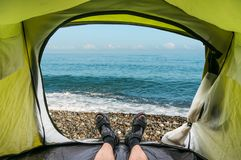 View from inside a tent on the waves and the Black sea. In Georgia Stock Images