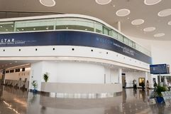 Inside Gibraltar airport. A view inside the terminal at Gibraltar International Airport at the British overseas territory of Gibraltar Stock Photography