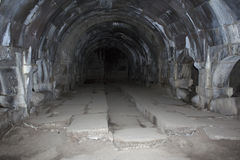 View from the inside to caravanserai on Selim Vardenyats Pass. Stock Images