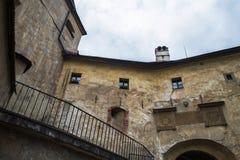 Orava Castle Oravsky hrad . Slovakia. View from inside to drawbridge and main gate of Orava Castle Oravský hrad. Orava Castle is located in Oravsky Podzamok royalty free stock photography