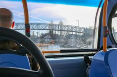 View from inside to street through the bus window royalty free stock photo