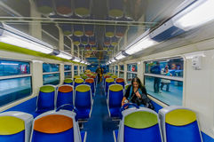 View inside a train of the Metro in Paris, France Royalty Free Stock Images