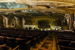 Abandoned Variety Theater - Cleveland, Ohio. A view inside the vintage and abandoned Variety Theater in Cleveland, Ohio stock image