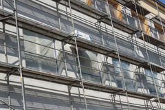 View on insulation for thermal protection. Insulation for thermal protection. Work on scaffolding stock images