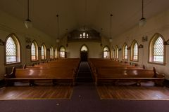 Pews & Stained Glass Windows - Derelict Chapel - Abandoned Cresson Prison / Sanatorium - Pennsylvania stock photos