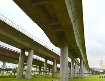 View of interchange train overpass and green field in singapore Stock Photography