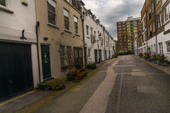 View on an interesting  street, characteristic buildings English Royalty Free Stock Photos