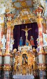 View of the art on the interior of the Pilgrimage Church of Wies in Steingaden, Weilheim-Schongau district, Bavaria, Germany. View interior art inside the stock photos