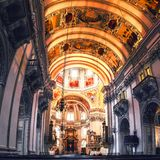 View of interior of Cathedral in Salzburg, Austria stock photo